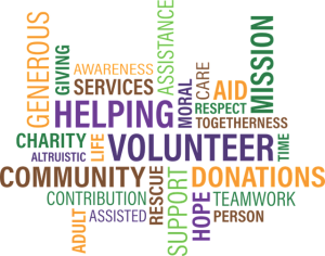 Image is of a word cloud with the words helping, volunteering, community, and donations as the focus.