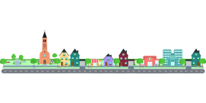 Image is a cartoon illustration of a city street with buildings, homes, and a church.