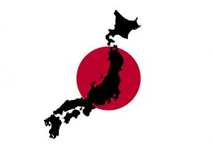 Image is of the outline of the country of Japan imposed over the Japanese flag.