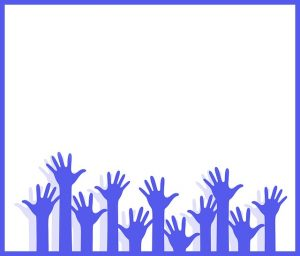 Image is of illustrated raised hands in the color blue against a white background.