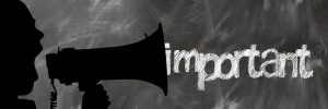 "Image is the outline of a man yelling into a megaphone with the word ""important"" coming out of it."