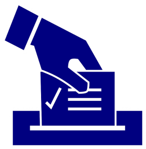 Image is an illustration of a hand putting a ballot in a ballot box.