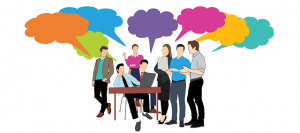 Image is an illustration of a group of people gathered together with thought bubbles over their heads.