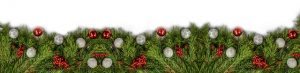 Image is of Christmas boughs with red and silver ornaments.