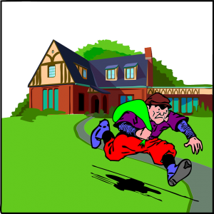 Image is a cartoon of a burglar running away from a home with a bag of stolen items.