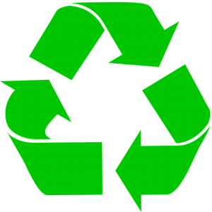 Image is a green recycling symbol against a white background.