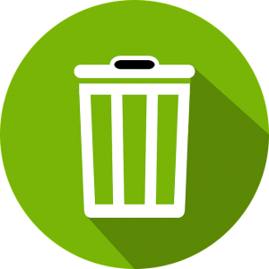 Image is of a white recycling can icon against a green backdrop.