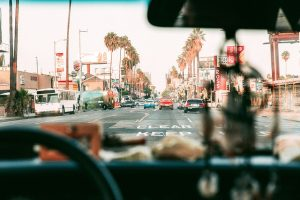 Image is of Los Angeles traffic as viewed from inside a car.