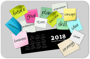 "Image is a 2018 desk calendar with sticky notes around it with words like ""goal"" ""future"" and ""concept"" around it."