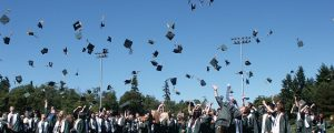 Image is of high school graduates throwing their hats in the air at an outside graduation ceremony.