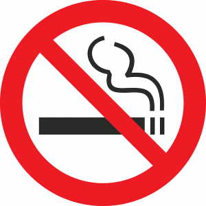 Image is a black, red, and white no smoking symbol.