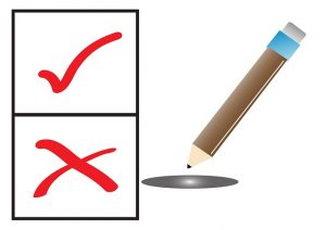 Image is a check mark and a x next to a pencil, representing voting.