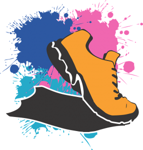 Image is a cartoon illustration of an orange running shoe with blue and pink splotches behind it.