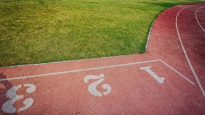Image is a close up of a running track in track and field.