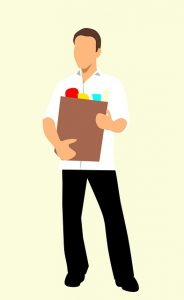Image is an illustration of a man holding a bag of food.
