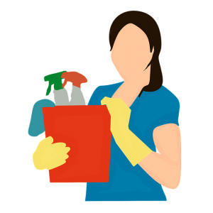 Image is an illustration of a woman holding a bucket full of cleaning supplies.