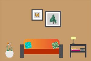 Image is an illustration of a clean and orderly living room.