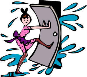 Image is an illustration of a woman holding a door closed against a flood.