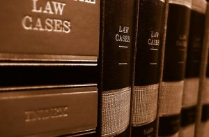 Image is a close up of law case books.