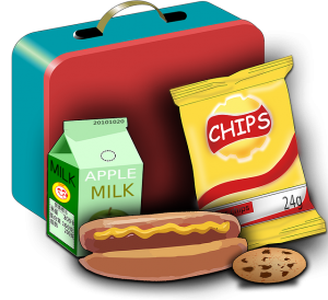 Image is a drawing of a lunch box with milk, chips, a hot dog, and cookie.