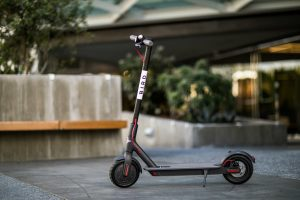 Image is a picture of a Bird scooter.
