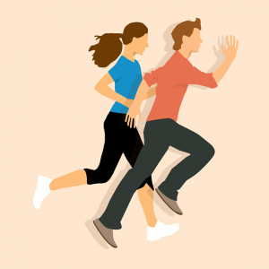 Image is an illustration of a man and woman running.