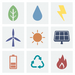 Image is a group of symbols representing alternative energy sources.