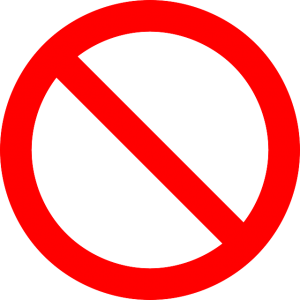 """Image is a red and white """"banned"""" sign."""