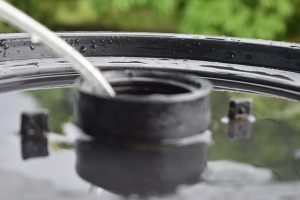 Image is a close up of a water barrel.