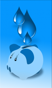 Image is an illustration of water being placed into a piggy bank.