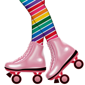 Image is an illustration of a pair of legs in rainbow tights with pink roller skates on.