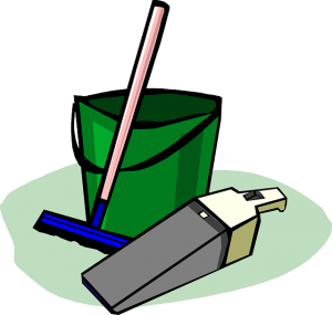 Image is a drawing o a mop, bucket, and dustbuster.