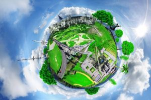 Image is a simulated 360 degree view of an outdoor space.
