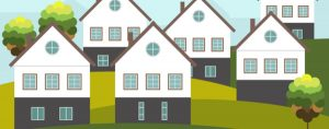 Image is an illustration of a group of houses.