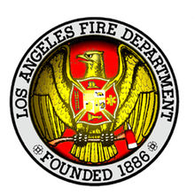 Image is the Los Angeles Fire Department logo, founded in 1886.