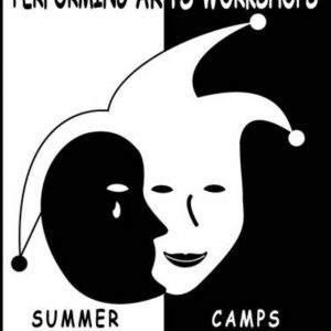 Image is the Performing Arts Workshops summer camp logo.