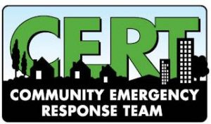 Image is the CERT logo--Green letters against a backdrop of black homes with the words community emergency response team under it.