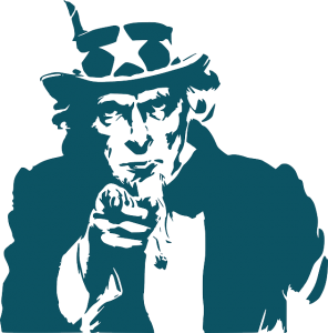 Image is a drawing of Uncle Sam in blue against a white background.